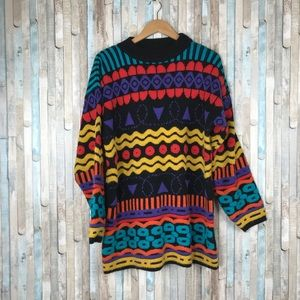 Vintage Sweaters - Vintage L XL 90s Colorful Textured Knit Sweater